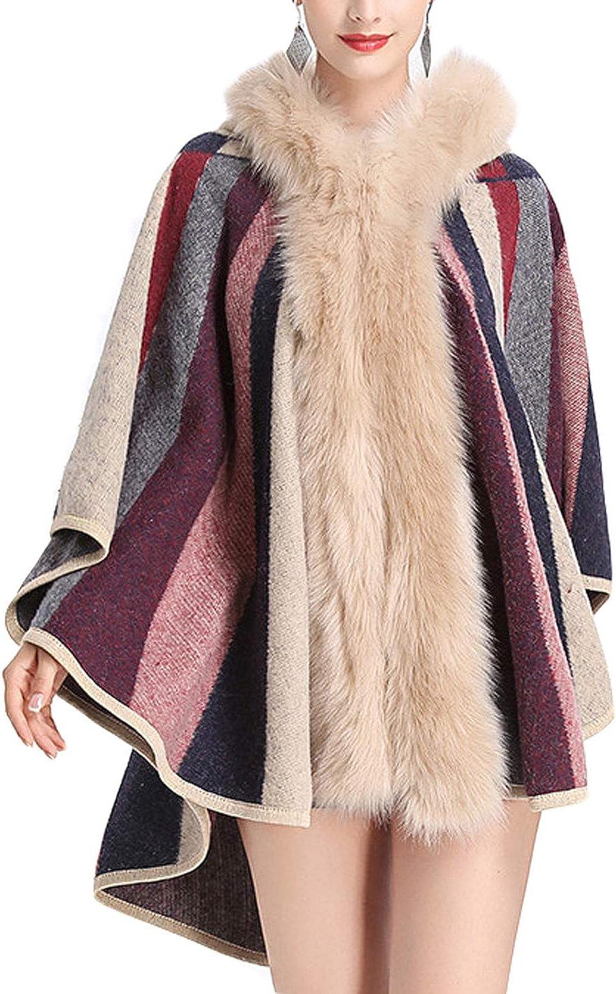 Gihuo Women's Vintage Batwing Faux Fur Hooded Cloak Poncho Cape Warm Shawl