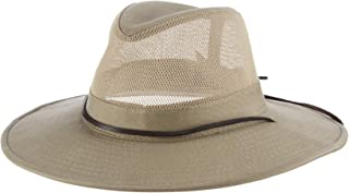 Men's Brushed Twill-and-Mesh Safari Hat with Genuine Leather Trim