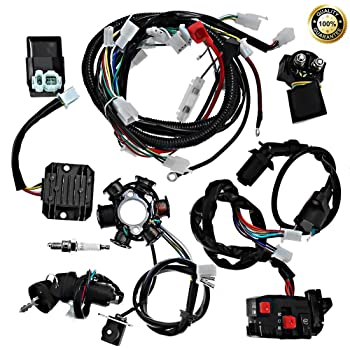 Amazon.com: JIKAN Complete Wiring Harness kit Wire Loom Electrics Stator  Coil CDI for ATV Quad 4 Four Wheelers 150CC 200CC 250CC Go Kart Dirt Pit  Bikes: Automotive