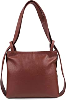 Made IN Italy OBC Damen Tasche Rucksack 2in1 Umhängetasche Schultertasche Daypack Rucksacktasche Handtasche Ledertasche