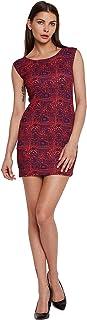 ADDYVERO Women's Round Neck Printed Bodycon Dress