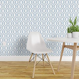 Spoonflower Pre-Pasted Removable Wallpaper, Pale Blue Ikat White Ogee Trellis Pattern Worldly Boho Baby Boy Nursery Print, Water-Activated Wallpaper, 24in x 144in Roll