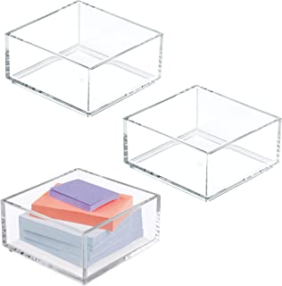 mDesign Stackable Office Supply Plastic Drawer and Desktop Storage Organizers for Sticky Notes, Paper Clips - Pack of 3, C...