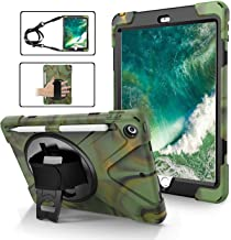 iPad Case 9.7 with Pen Holder, TSQ High Impact Resistant Hybrid Kidsproof Silicon Rugged Protection iPad Case 5th/6th Generation with Swivel Stand/Hand Strap+Shoulder Belt for Boys Girls,Camouflage