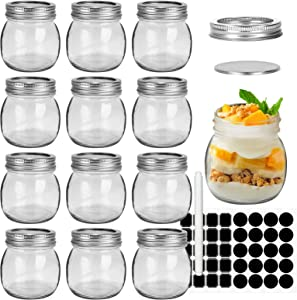CycleMore 12 Pcs 10oz 300ml Clear Glass Jars With Silver Separable Lids, Mason Jars Round Canning Jars Spice Jars for Honey, Jam, Herb, Wedding Favor, Kitchen Storage