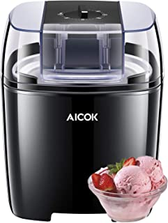 Aicok Maquina de Helados con Temporizador, Maquina Helado de Yogur y Sorbetes con 1.5 Litro