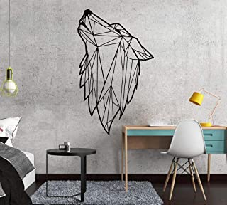 WSLIUXU Nordic Style Art Geometric Wolf Vinyl Wall Stickers Living Room Decoration Decals Bedroom Decoration Wall Decals Mural Wallpaper Home Garden Wall Stickers Gold L 28cm X 48cm