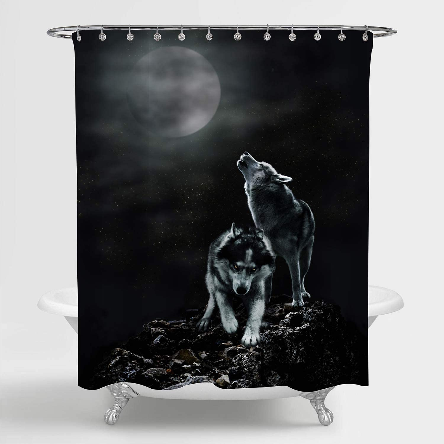 MitoVilla Howling Wolf Shower Curtain Set with Hooks for Black B
