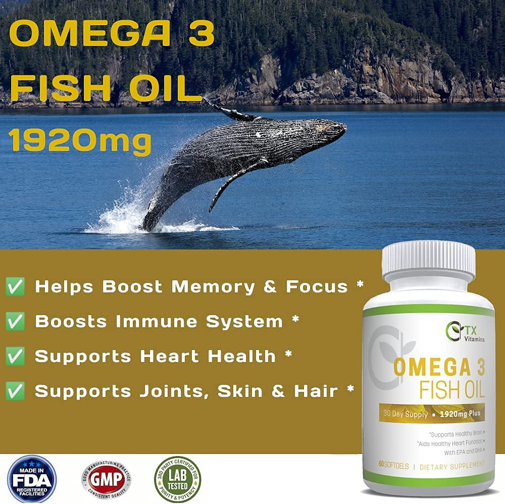 Omega 3 Pure Fish Oil Supplement with EPA & DHA | Helps Boost Heart, Brain, Memory, Focus, Cognition. Promotes Cardiovascular | Gluten Free | Non GMO | Lemon Flavor | TX Vitamins