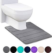 Buganda Memory Foam Contour Toilet Bath Rug, U-Shaped Non Slip Absorbent Thick Soft Washable Bathroom Rugs, Floor Carpet Bath Mat for Bathroom Sink Toilet (20 x 24, Grey)