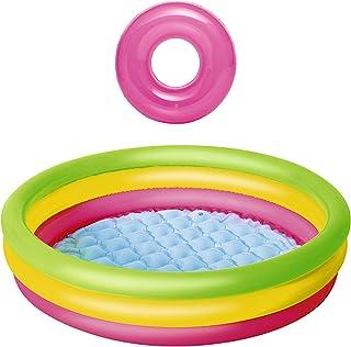 JOVAL -Pack Piscina refrescante Infantil Multicolor, de 102 centímetros de diámetro. con Flotador Incluido. con Colores neón, para Jardin terraza o casa…