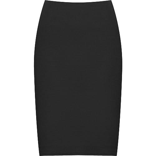 eb1b049569 WearAll Plus Size Back Slit Skirt Womens Knee Length Ladies Elasticated Sizes  12-26