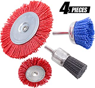 Swpeet 4Pcs Nylon Filament Abrasive Wire Brush Wheel & Cup Brush Set with 1/4 Inch Shank, 4 Sizes Nylon Drill Brush Set Perfect for Removal of Rust/Corrosion/Paint - Reduced Wire Breakage