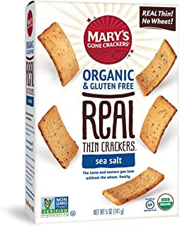 Mary's Gone Crackers Real Thin Crackers, Made with Real Organic Whole Ingredients, Gluten Free, Sea Salt, 5 Ounce (Pack of 6)