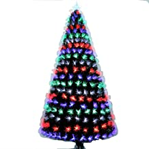 7FT Fibre Optic Christmas Tree, Artificial Green Xmas Tree with Metal Stand,Multicoloured Christmas Decoration and Gift (2...