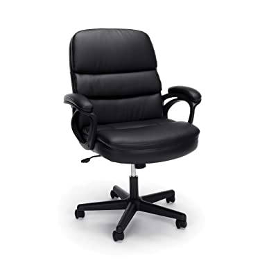 OFM ESS Collection Bonded Leather Executive Chair with Arms, in Black (ESS-6025)