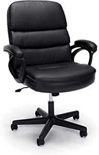 OFM Essentials Collection Bonded Leather Executive Manager's Chair with Arms, in Black (ESS-6025)