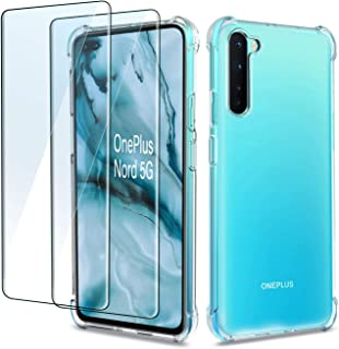 QHOHQ Case voor OnePlus Nord 5G met 2 Pack Screen Protector, transparante zachte siliconen TPU Anti-Fall Cover - gehard gl...