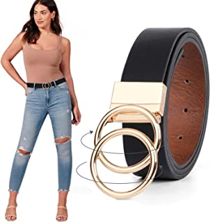 JASGOOD Women Leather Belt, Reversible Belt, Leather Waist Belt for Jeans Dress with Gold Double O Ring Rotate Buckle, A-B...