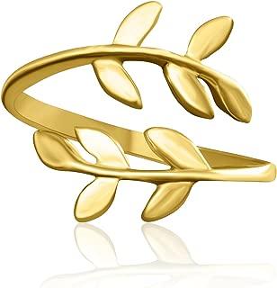 Matte Color BFF Best Friends Bohemian Boho Jewelry Tree Flower Leaves Laurel Leaf Knuckle Toe Adjustable Band Ring