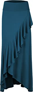 Lock and Love LL Womens Wrapped High Low Ruffle Maxi Skirt - Made in USA