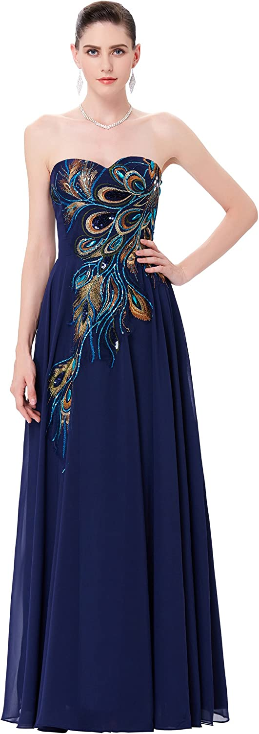 GRACE KARIN Long Strapless Embroidery Prom Dress Aline CL6168 (Multicolord)