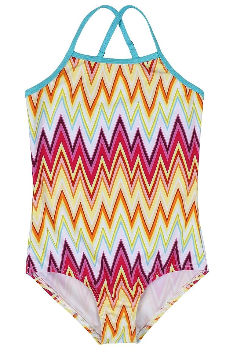 Sociala Girl's Tribal Fringe One Piece Swimsuits Bathing Suits Swimwear 3-14T
