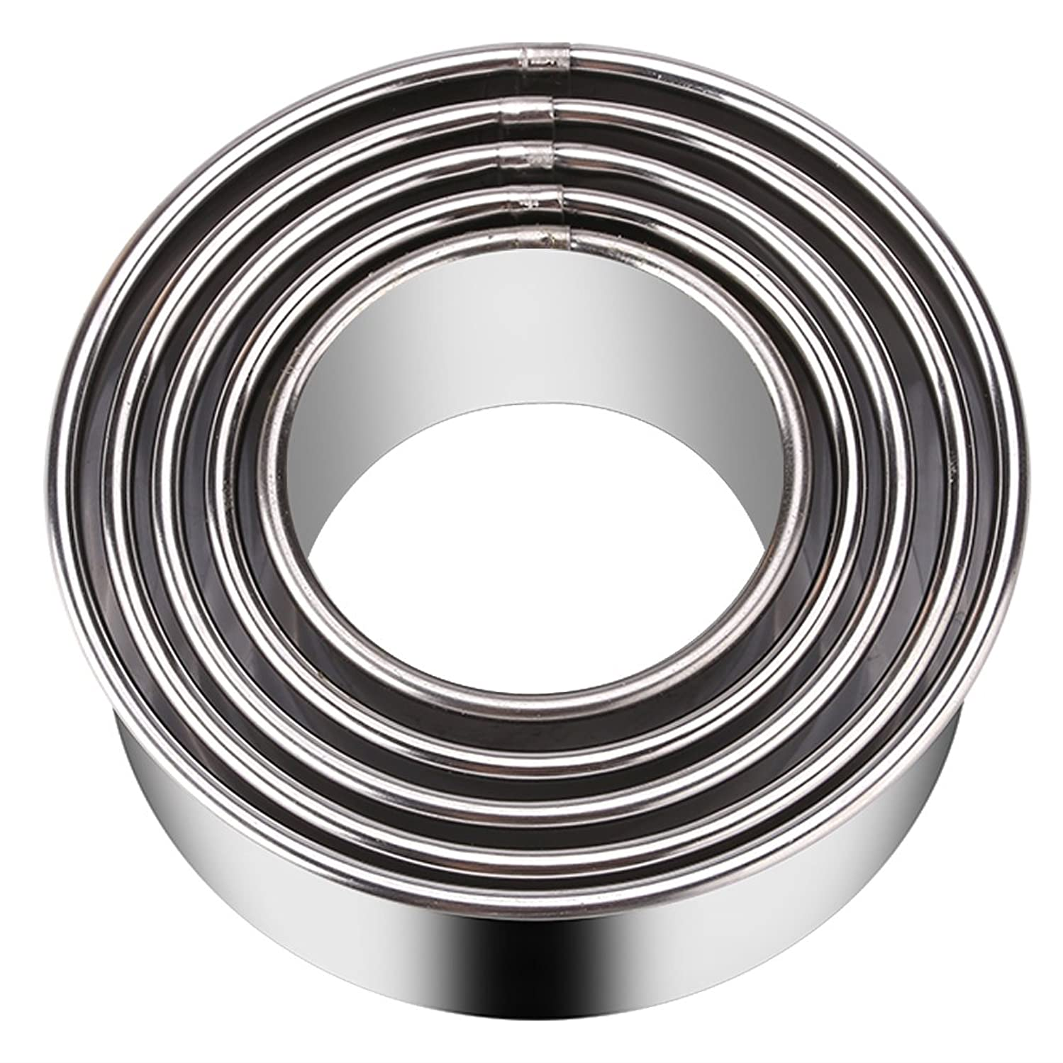 KSPOWWIN 5 Pieces Stainless Steel Cookie Cutters Biscuit Plain Edge Round Cutters in Graduated Sizes Shape Molds