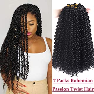 7 Packs Passion Twist Hair 18 Inch Water Wave Bohemian Braids for Passion Twist Crochet Braiding Hair Extensions (1B,28 Strands)