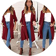 Fragrancety Autumn Winter Lapel Solid Open Stitch Coat Slim Long Sleeve Manteau Femme Pocket Button Trench Coat