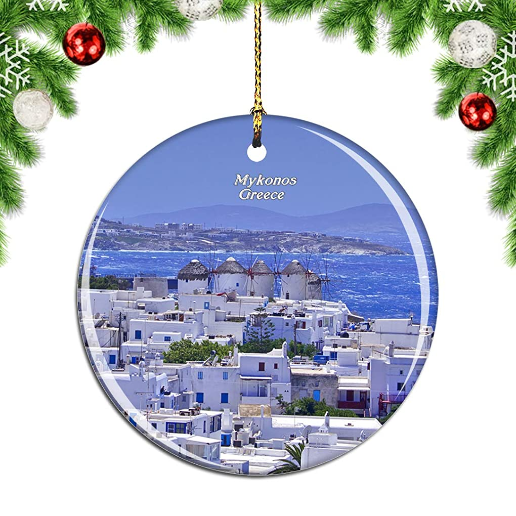 扱いやすい偽ホイストWeekinoギリシャミコノスクリスマスデコレーションオーナメントクリスマスツリーペンダントデコレーションシティトラベルお土産コレクション磁器2.85インチ