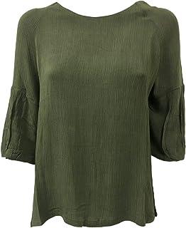 LA FEE MARABOUTEE Blusa Donna Verde MOD FB7121 100% Viscosa Made in Italy