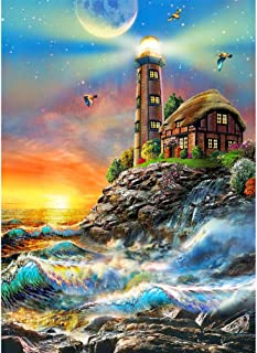 5D DIY Diamond Painting by Number Kit for Adult, Full Drill Diamond Embroidery Dotz Kit Home Wall Decor Urban Local Architecture Landscape (Lighthouse, 30 x 40 cm)