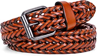 Men's Leather Braided Belt for Jeans, WHIPPY Fashion Prong Buckle Woven Strap Belts for Men Pants