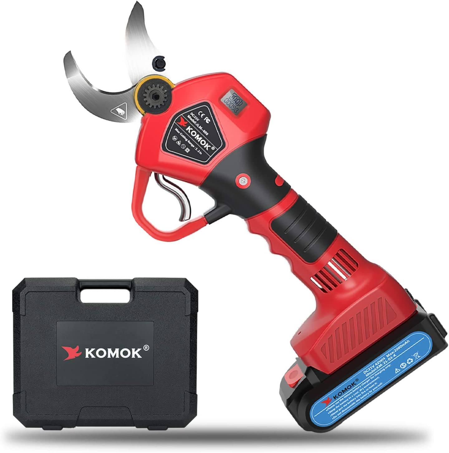 KOMOK Professional Sale price Cordless Electric Max 60% OFF Pruning Shears with Digital