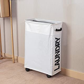 Rolling Slim Laundry Basket with Stand Foldable Waterproof Sorter and Organizer on Wheels Tall Thin Dirty Laundry Hamper B...