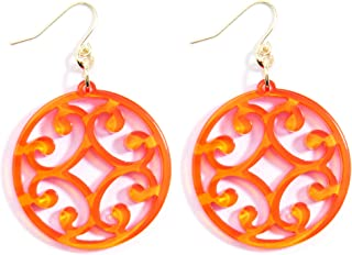 Circle Scroll Acrylic Resin Earrings for Women Girls Statement Teen Melamine Pattern Acetate Drop and Dangle Earring Fashion Jewelry