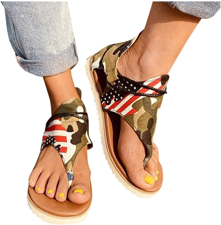 T-Strap Sandals for Women Flat T-Strap Open Toe Sandal Roman Shoes Casual Summer Beach Sandals Flip Flops
