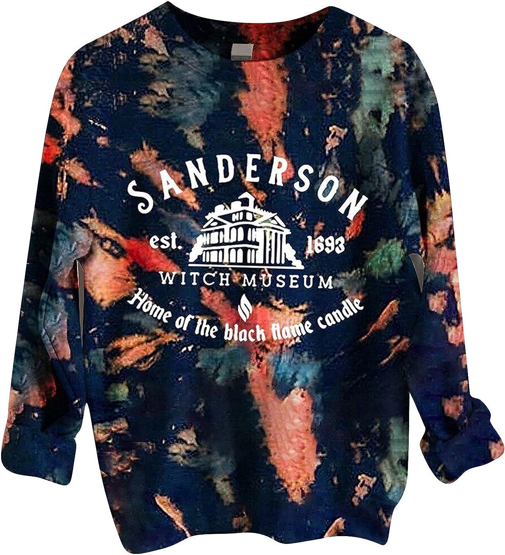 Women Halloween Sweatshirts Round Neck Long Sleeve Casual Pullover Fashion Tie Dye Tops