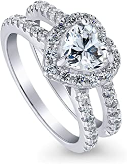 Rhodium Plated Sterling Silver Heart Shaped Cubic Zirconia CZ Halo Engagement Ring 1.89 CTW