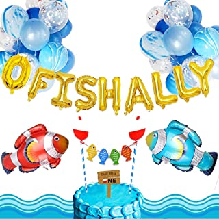 LaVenty Set of 19 Ofishally one Birthday Decoration The Big One Birthday Balloons 1st Birthday Fisherman Banner Fishing Party Supplies Little Fisherman Party Balloons