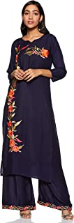 Sabaira Women Rayon Material with Round Neck and 3/4 Sleeve and Embroidery Work Kurti - Plazo Set For Women (Full Stiched)