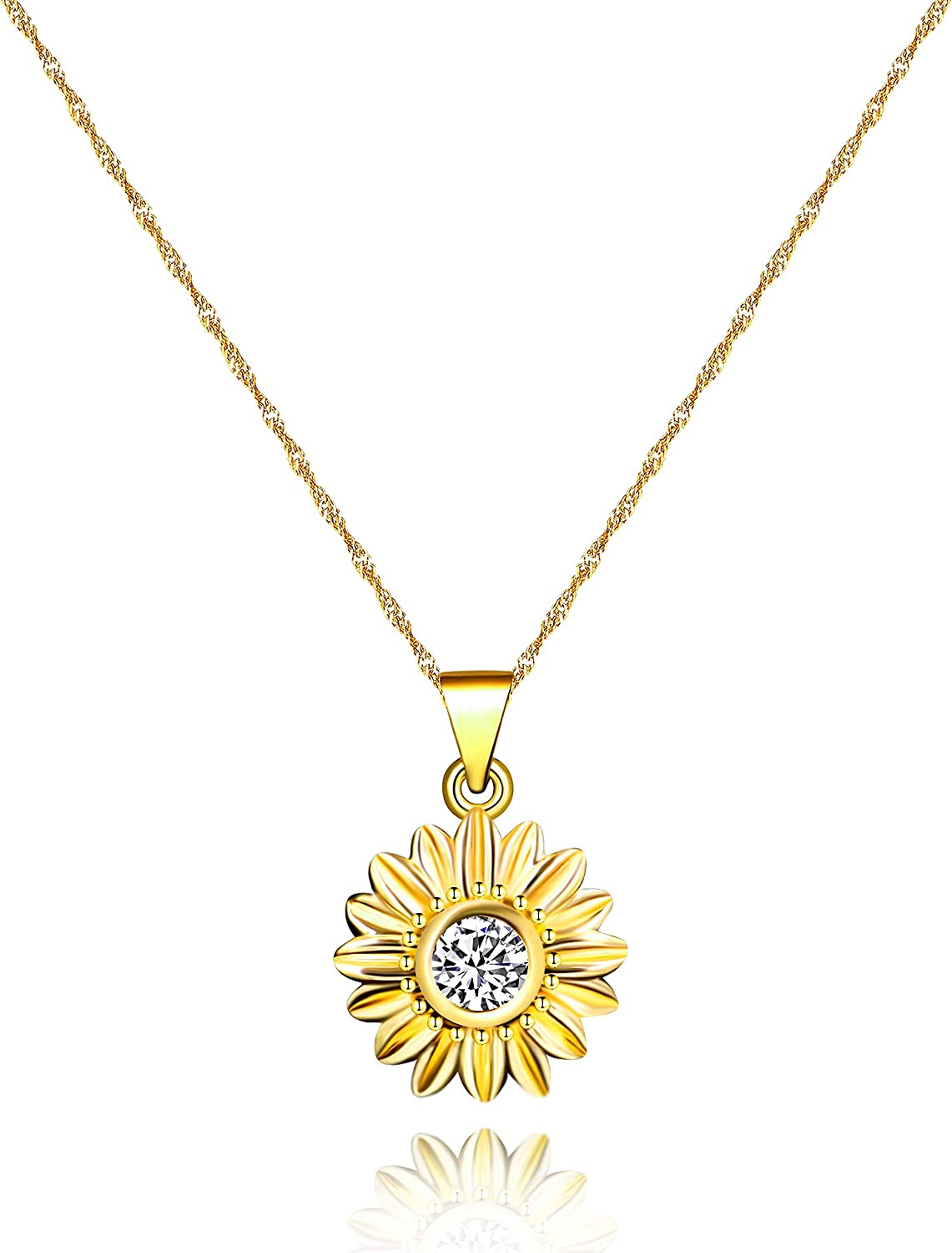 Dainty Daisy Flower Branded goods Ranking TOP17 Necklace Sun Zirconia Cubic Chrysanth