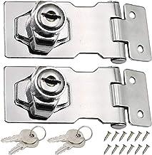 LCOUACEO 2 stuks lade-kastlokken, roestvrij staal, 80 mm deurbouten, vergrendelgesp met hangslot en sleutel voor deuren, h...