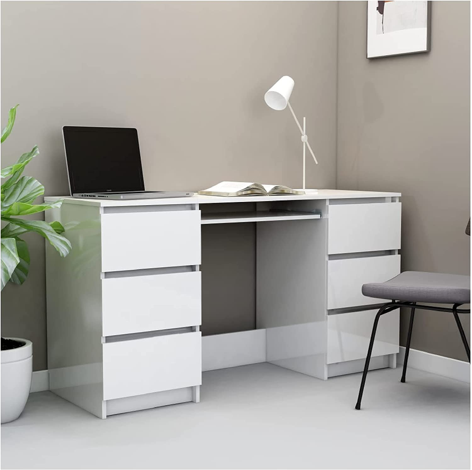 Desk Writing High Gloss Cheap mail order specialty store White 55.1