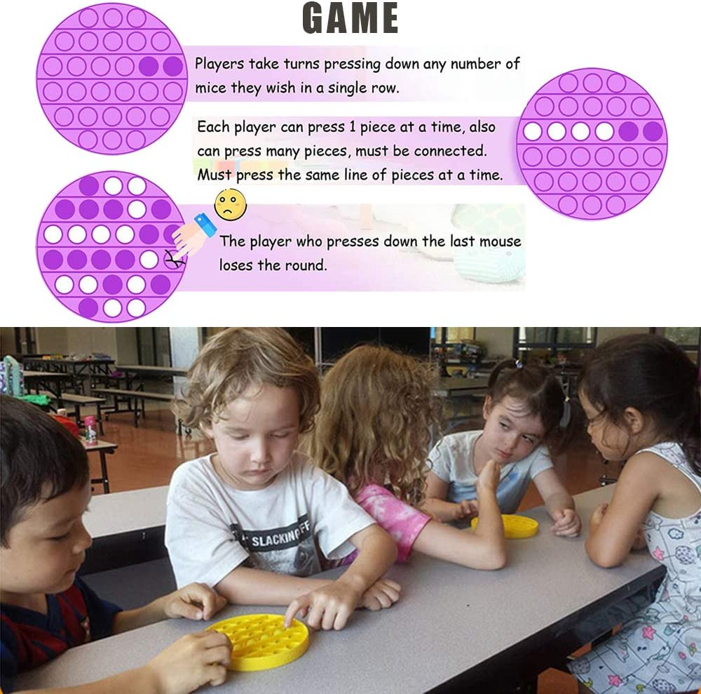 Apriluna Push Bubble Fidget Toy Stress Relief and Anti-Anxiety Tools for Kids and Adults Sensory Irritability Toy for Autism with Special Needs to Relieve Stress Round-Purple