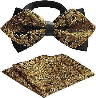 Men's Gold Paisley Suit Pre-Tie Bowtie Adjustable Self Bow Tie Pocket Square Set