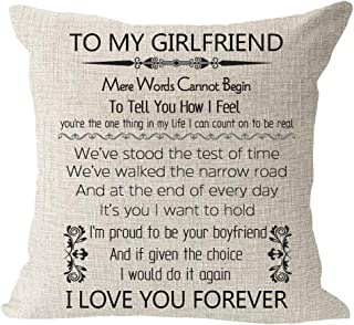 to My Girlfriend Mere Words Cannot Begin to Tell You How I Feel Anniversary Birthday Gift Cotton Linen Square Throw Waist ...