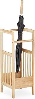 Relaxdays, 64 x 25 x 26,5 cm, Marrón Natural Paragüero Bambú Cuadrado, 2 Asas, Soporte Bastones, Madera