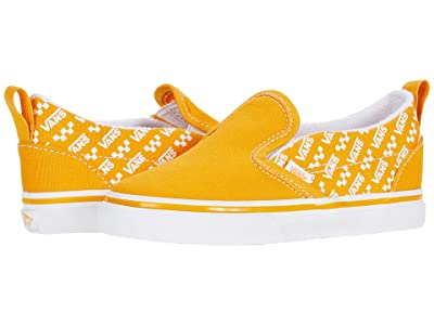 Vans Kids Slip-On V (Infant/Toddler) ((Logo Repeat) Cadmium Yellow/True White) Kids Shoes